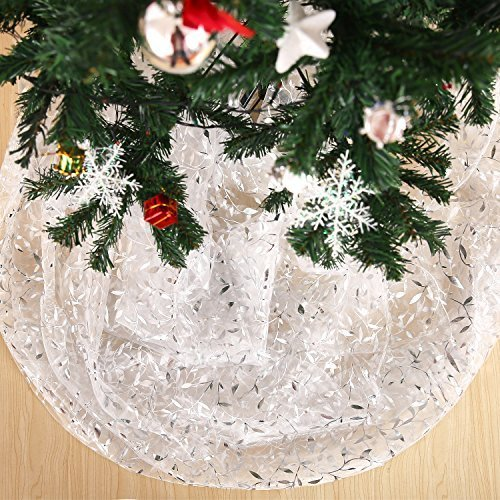 Deconovo Organza Glittering Shining Christmas Sheer DIY Christmas Tree Skirt Tablecloth Room Decoration Fabric Party Decorations Willow Pattern Silver Foil 59 Inch By 118 Inch (Skirt Tree Silver)