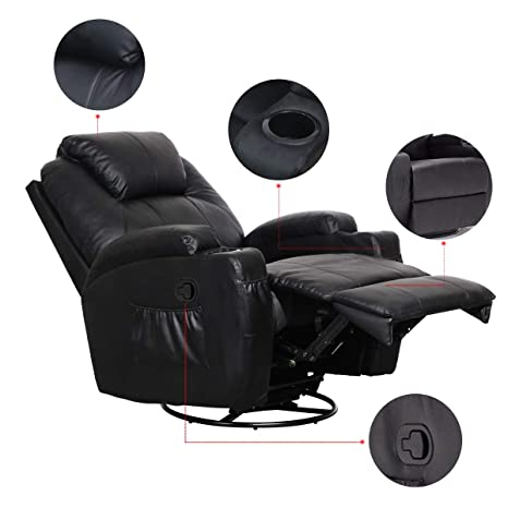 Wondrous 360 Degree Swivel Massage Recliner Chair Massage Chair Heated Recliner Bonded Leather Sofa Chair With 8 Vibration Motors Modern Recliner Seat Home Unemploymentrelief Wooden Chair Designs For Living Room Unemploymentrelieforg