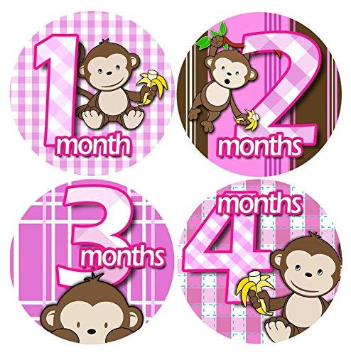 [해외]BANANA MONKEY PINK 1-12 Month Baby Monthly One Piece Stickers Baby Shower Gift Photo Shower Stickers / BANANA MONKEY PINK 1-12 Month Baby Monthly One Piece Stickers Baby Shower Gift Photo Shower Stickers