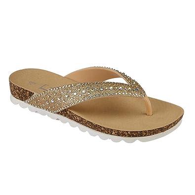 NEW Ladies Shimmer Toe Post Slip On Flip Flops Chunky Beach Summer Sandal Slider