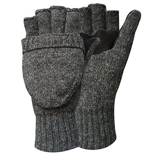 Korlon+Wool+Knitted+Convertible+Fingerless+Gloves+with+Mitten+Cover%2C+Dark+Gray