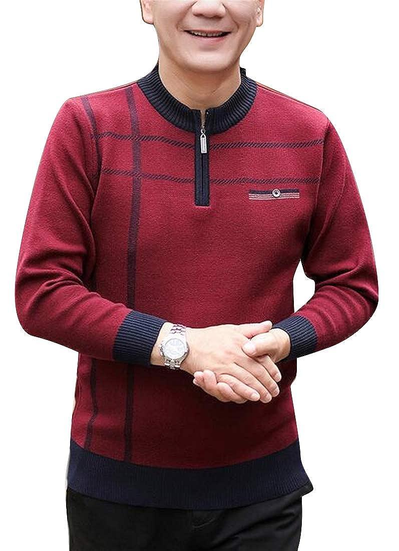 ARTFFEL Mens Big /& Tall Zipper Trim Knitting Slim Pullover Sweater