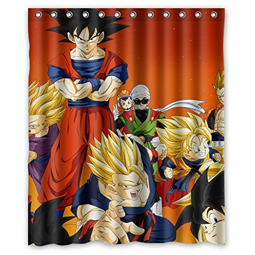 [MOLD & MILDEW RESISTANT & Halloween Costume Personalized Custome Custome Dragon Ball Waterproof Polyester Fabric Bathroom Shower Curtain 60