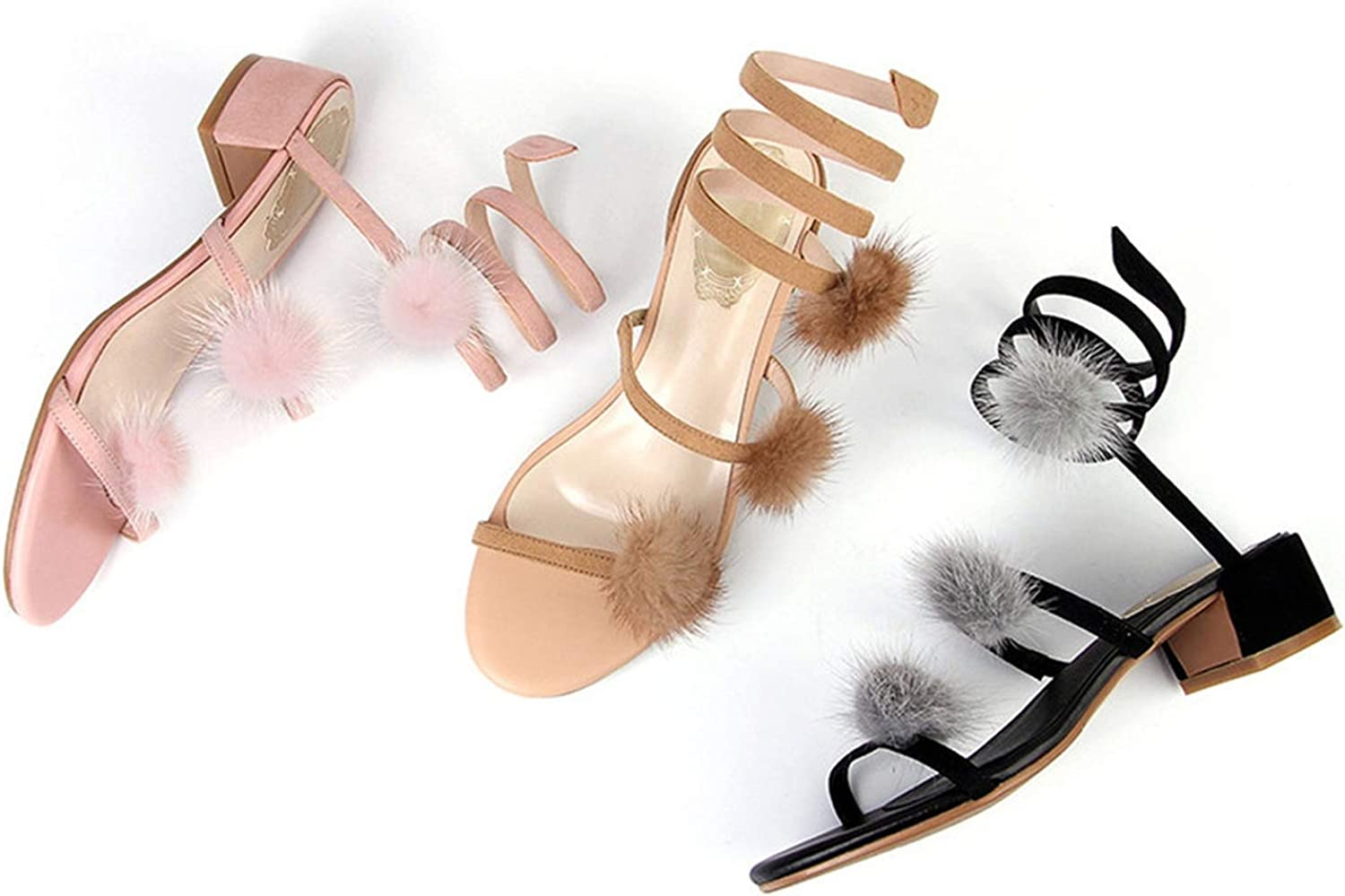 2018 Fashion New Shoes Woman Square Heel Sandals Women Suede Leather med Heels Casual Elegant Black Apricot