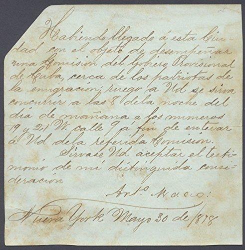 Lt. General Antonio Maceo Grajales Manuscript Letter Signed 05/30/1878