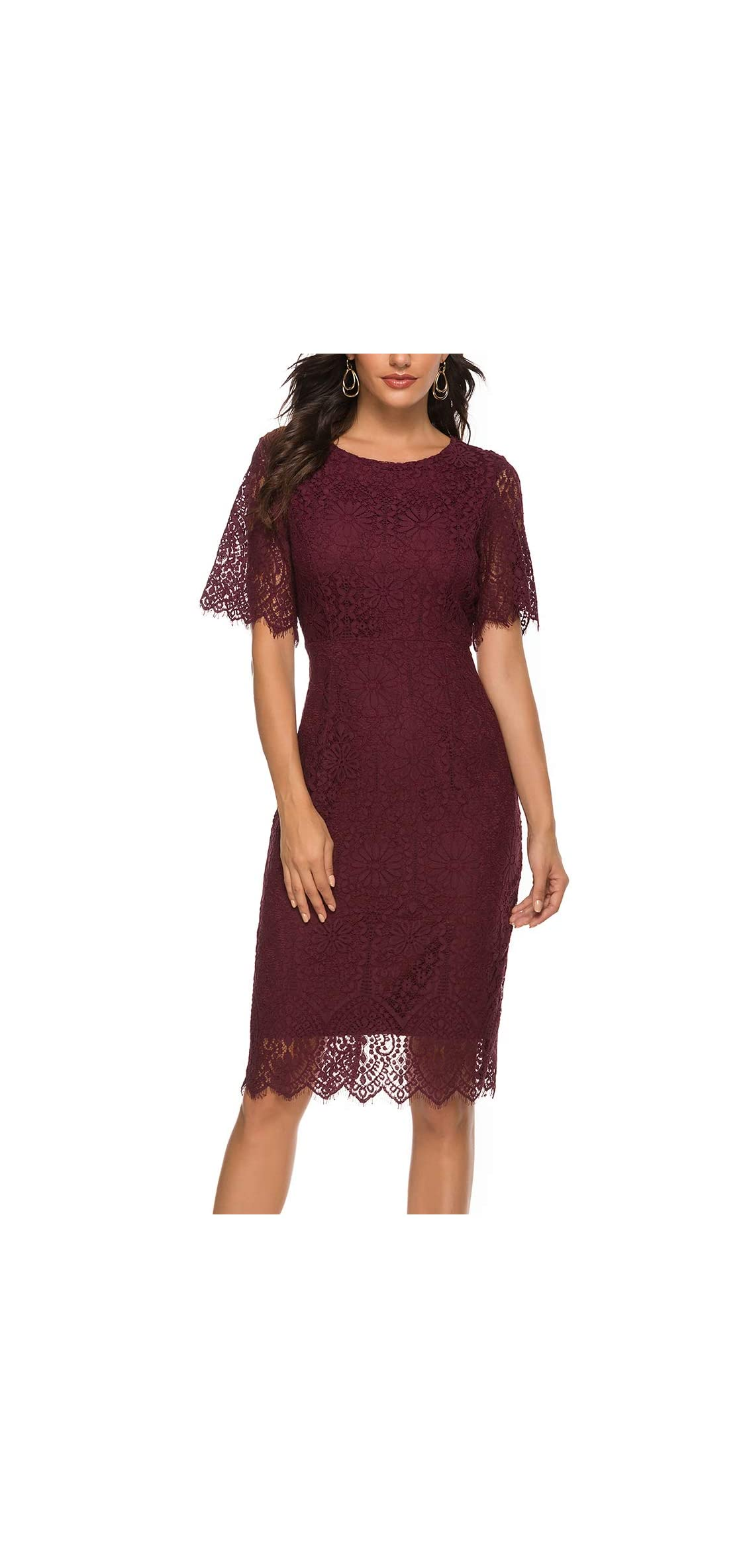 Women's Sleeveless Lace Floral Elegant Cocktail Dress