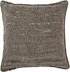 "McAlister Plush Textured Chenille Plump Filled 26"" Euro Pillow | Dark Pewter Silver 26x26"" Decor Toss Cushion | Metallic Velvet Linen Modern Rustic Accent"