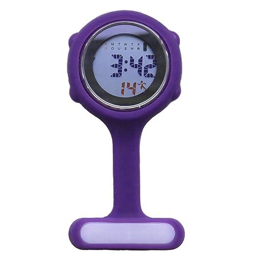 topzilly morado Digital Unisex Multi Función silicona enfermeras/broche/túnica/llavero/mosquetón de bolsillo/reloj: Amazon.es: Relojes