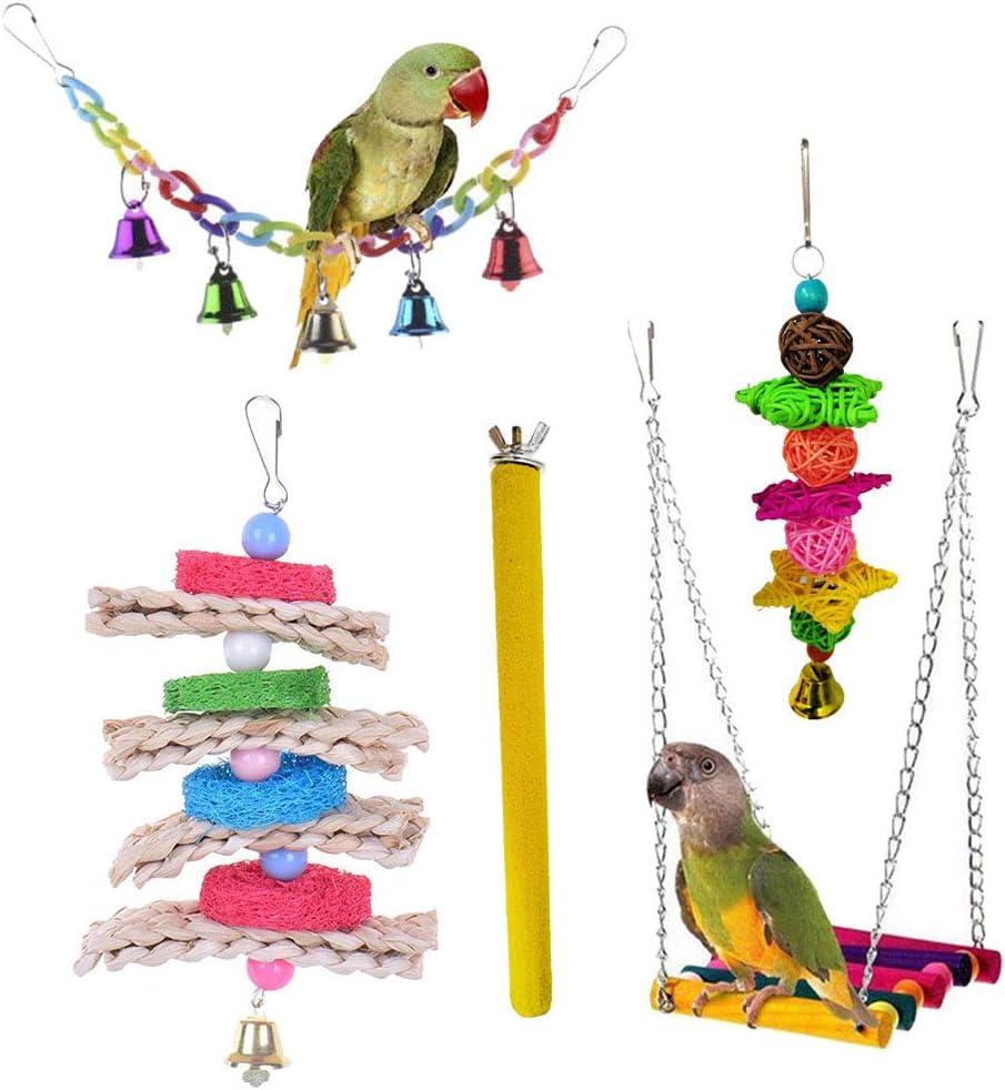 Yimosecoxiang Juguete de Loro Bola de mordida para Mascotas Colgante de Juguete Campana Columpio Escalera pájaro Parakeet Escalada