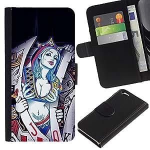 EJOY---La carpeta del tirón la caja de cuero de alta calidad de la PU Caso protector / Apple Iphone 6 / --Tarjetas Sexy Queen Hearts