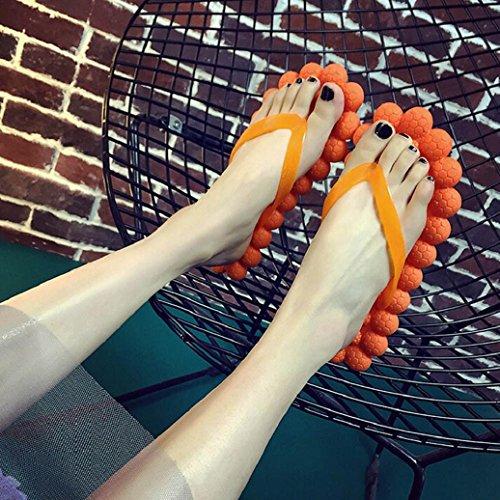 Elevin (tm) Massasje Flip Flops For Kvinner Jente Stilig Thong Hjem Husholdning Tøfler Skum Non-slip Strand Flip Flop Sandaler Godteri Farge Oransje