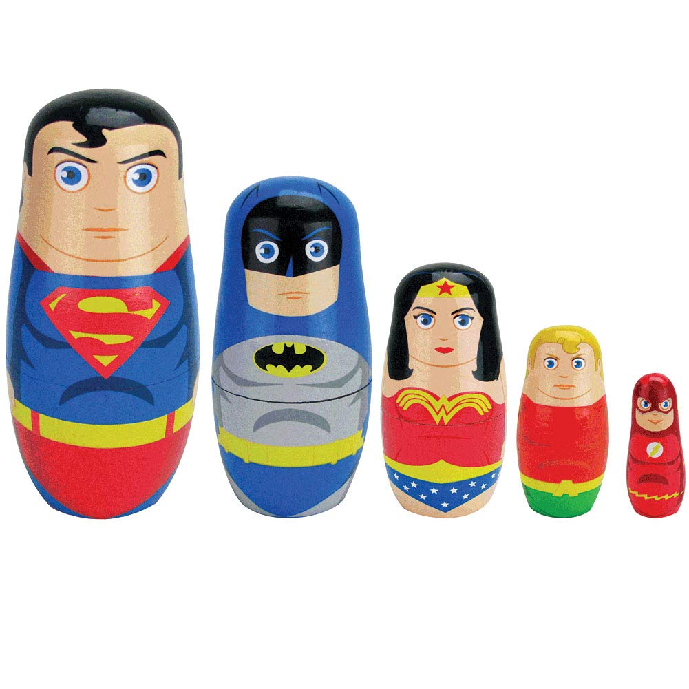 E E DISTIBUTION DC Justice League Nesting Doll Set - Superman Batman Wonder Woman Flash by E E DISTIBUTION (Image #1)