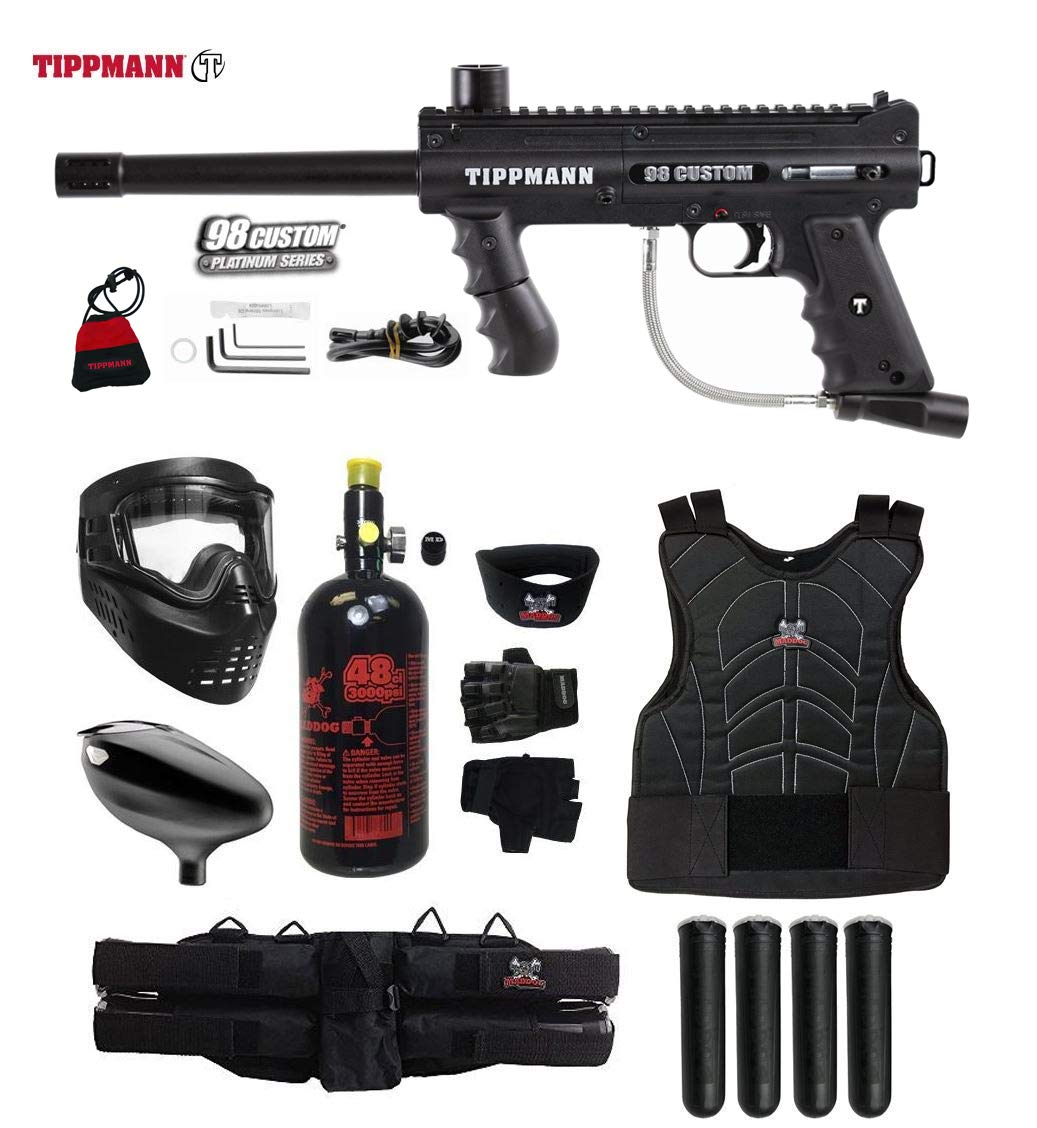 MAddog Tippmann 98 Custom Starter Protective HPA Paintball Gun Package - Black by MAddog