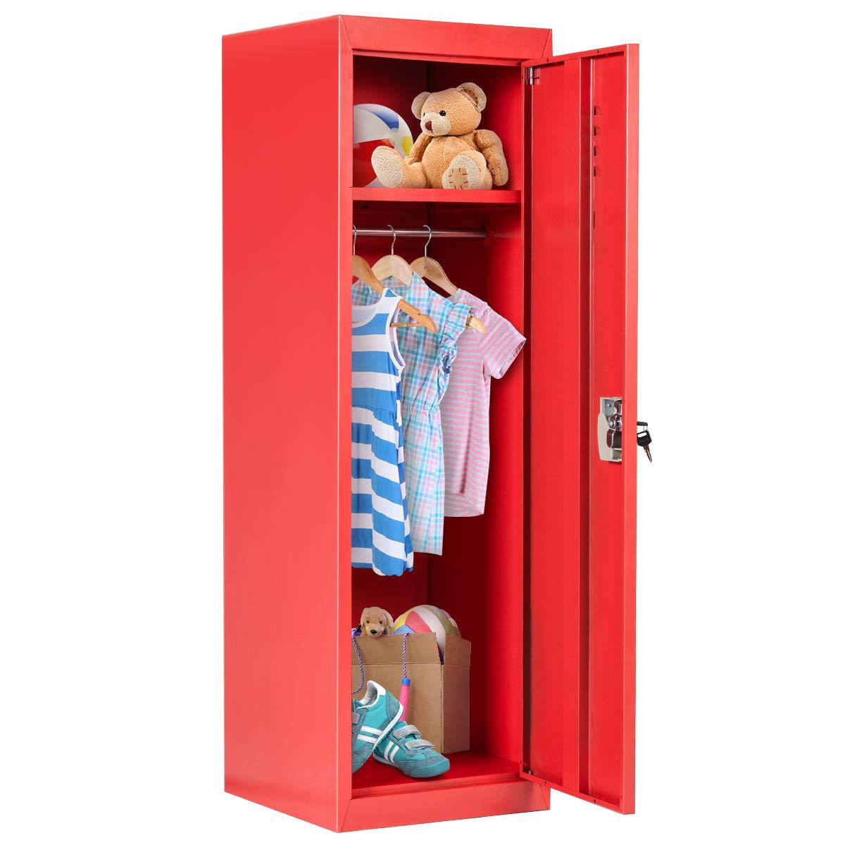 Costzon 48'' Kids Metal Storage Locker, Single Tier Metal Locker, Anti-Rust, Moisture Proof, Mildewproof, Lock and Key Safe Storage for Home & School (Red) by Costzon
