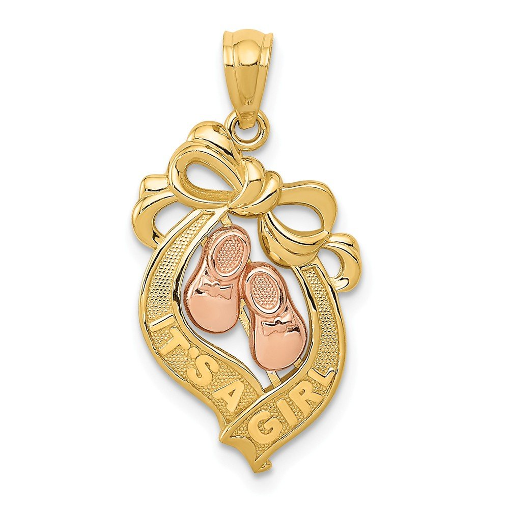 14k Two-tone Yellow /& Rose Gold It/'s a Girl Bow Pendant