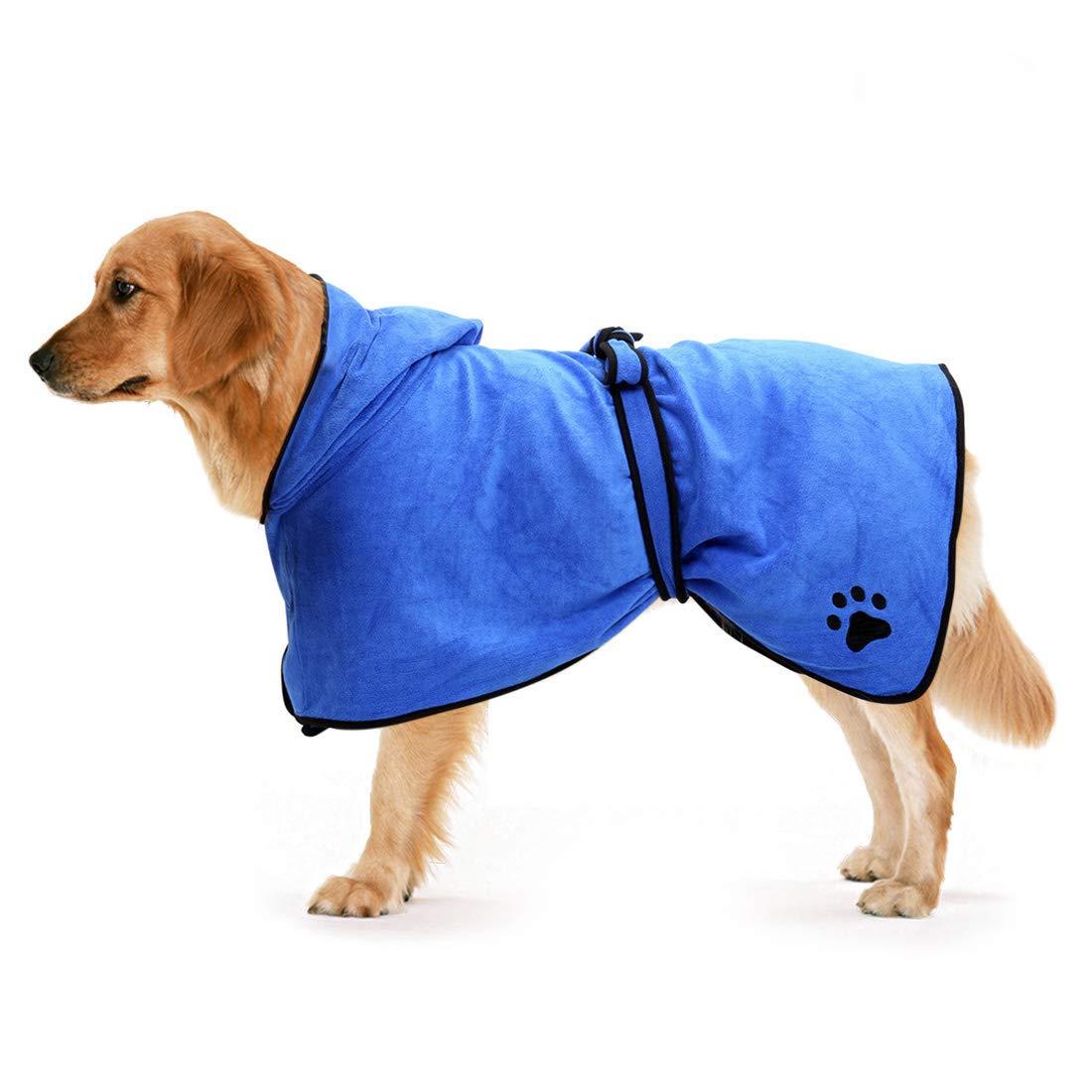 Zellar Dog Bathrobe Towel with Adjustable Strap Hood, Microfibre Fast Drying Super Absorbent Pet Dog Cat Bath Robe Towel for Drying Coats, Large, Blue