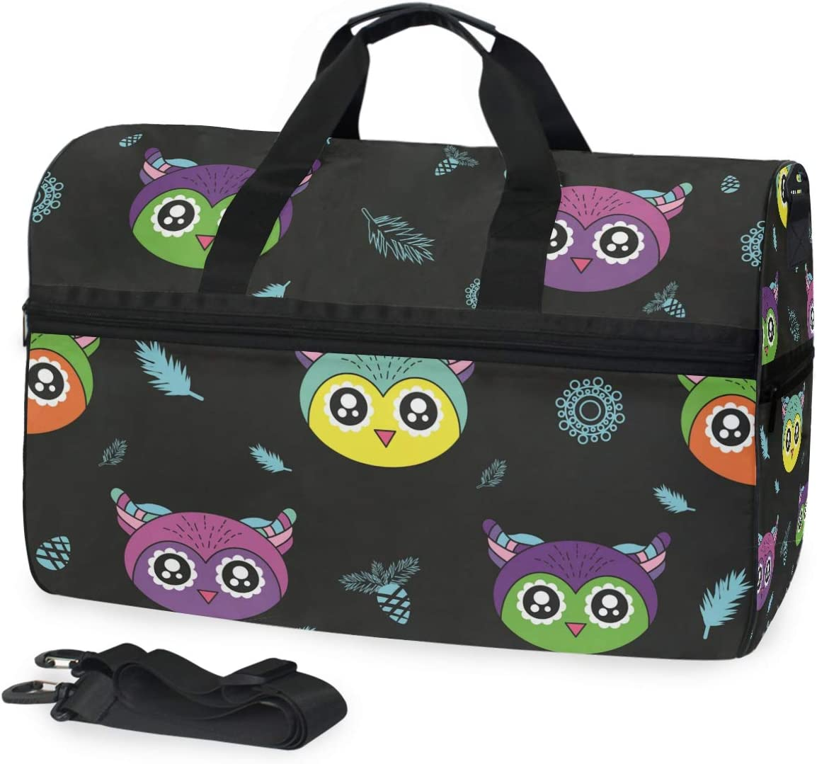 AHOMY Cute Kids Owl Sports Gym Bag with Shoes Compartment Travel Duffel Bag