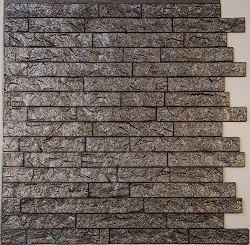 Ledge Stone 3D Wall Panels - lightweight thermoplastic Decorative 3D Wall Tiles for Easy Glue Up installation. Portland Cement Color. 1 Panel ( 24