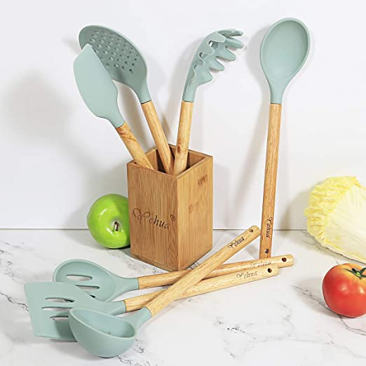NEW Kitchen Helper Bamboo Cooking Spoon Container Kitchen Spoon Turner Shovel Wood P//