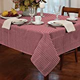 """Gingham Check Tablecloth Dining Room or Kitchen Table Linen 60"""" Round (Red)"""