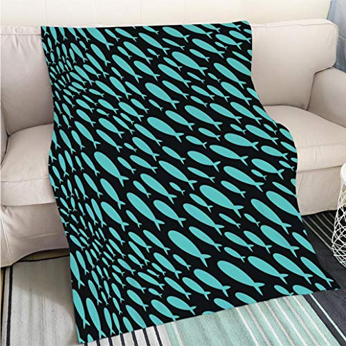Home Digital Printing Thicken Blanket Seamless Pattern with a School of Fish Wallpapers with Silhouettes of Small Fish Texture with Marine Life Perfect for Couch Sofa or Bed Cool Quilt