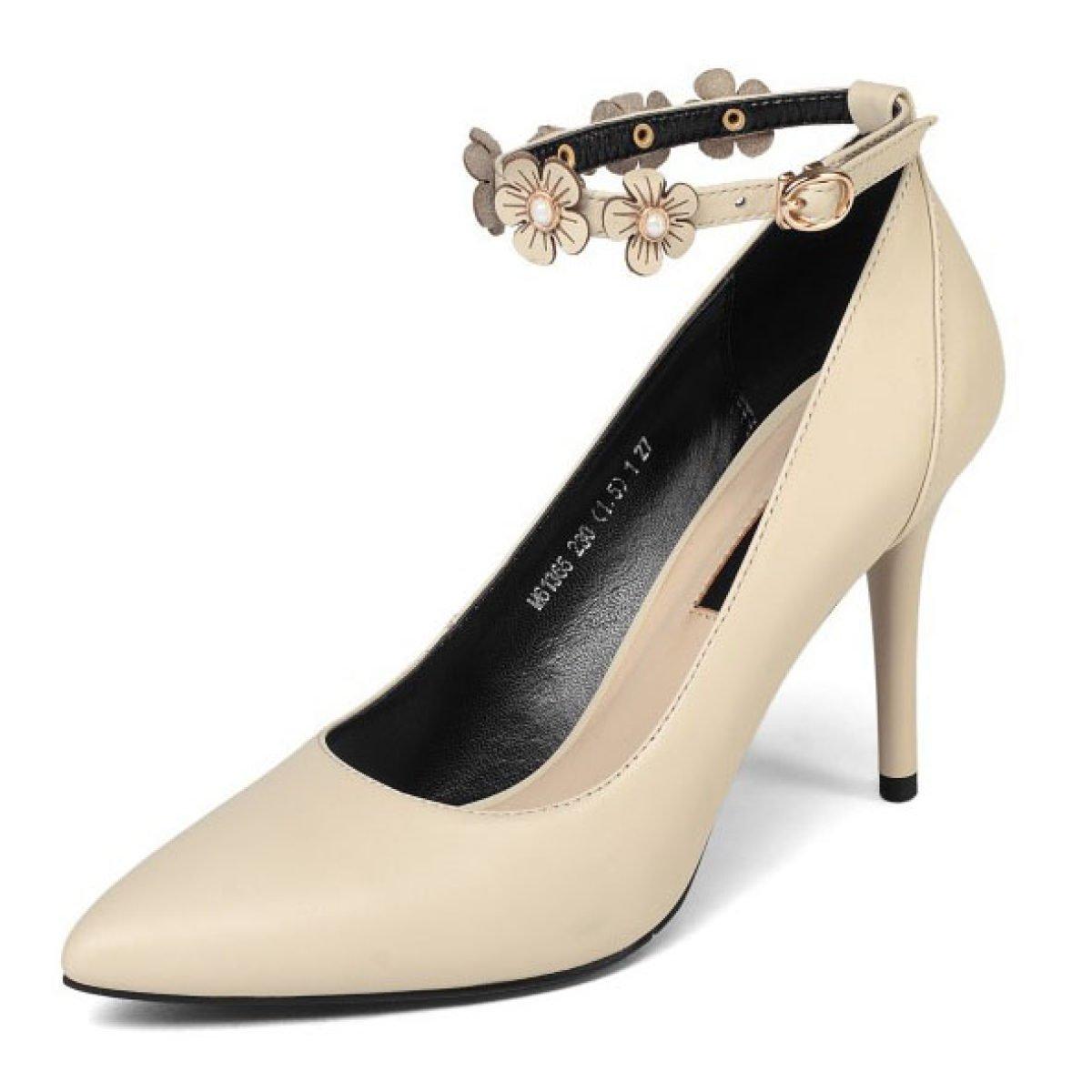 Beige Femmes Bout Fermé Thin Talons Hauts Chaussures Bride à La Cheville Boucles Fleur Pompes Cour Escarpins Chaussures De Soirée De Mariage (Beige Noir) EU 39 UK 6.5