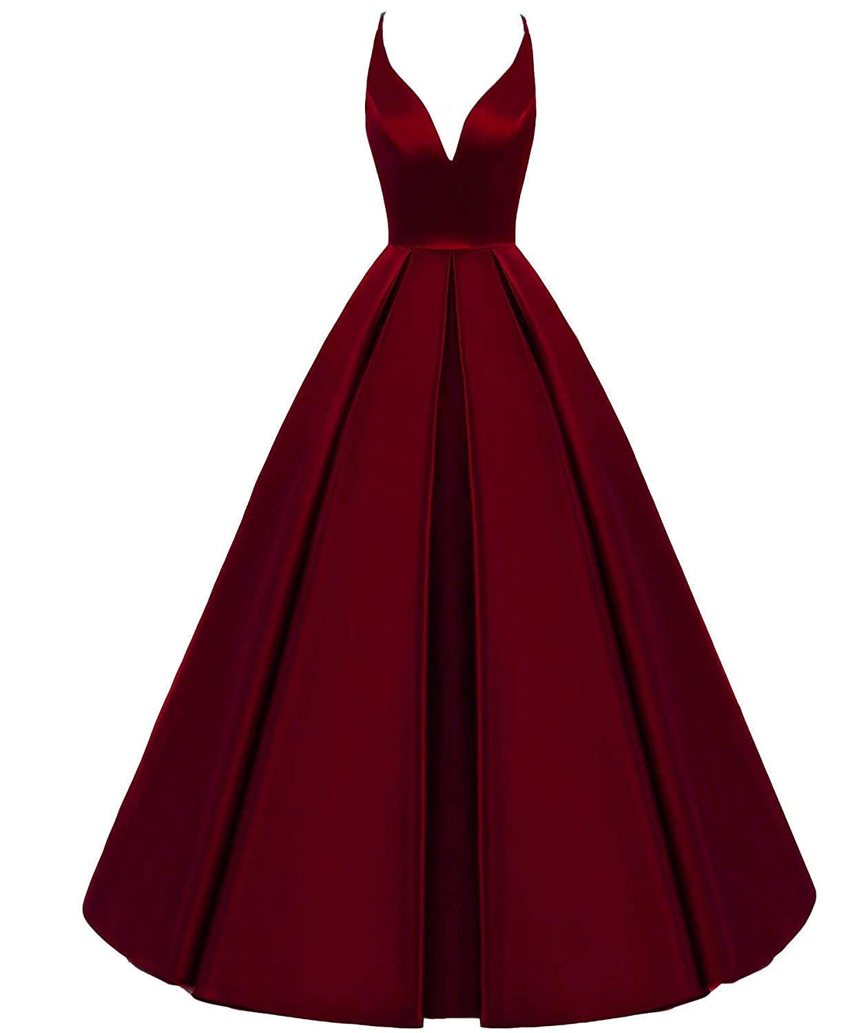 Darkburgundy Stylefun Womens Satin V Neck Prom Dress Spaghetti Straps Evening Party Formal Gowns XIN003