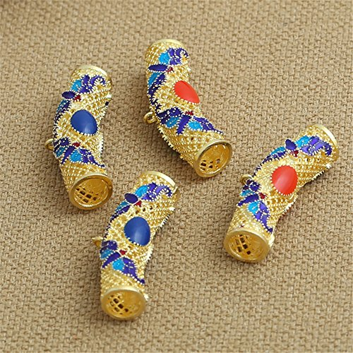Luoyi 1pc Golden Plated Sterling Silver Enamel Hanger Links, Cloisonne Large Bail Curved Hollow Tube with Flower Pattern, 308mm, Hole: 6mm and 1mm (T051L) (Blue)