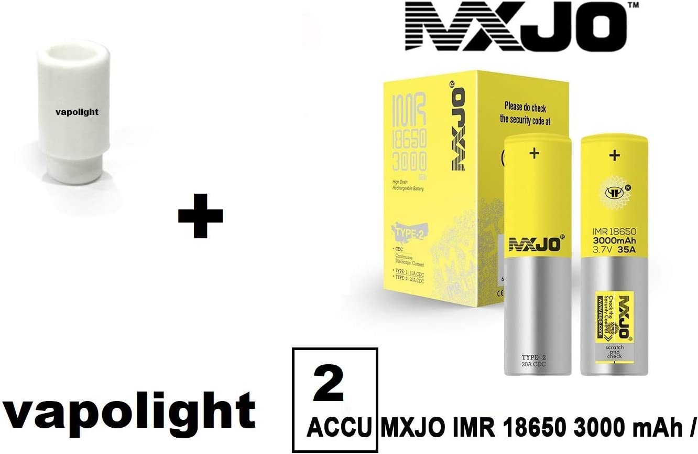 Inclus 2 Accus MXJO IMR 18650 3000 mA 35 A Drip Dip