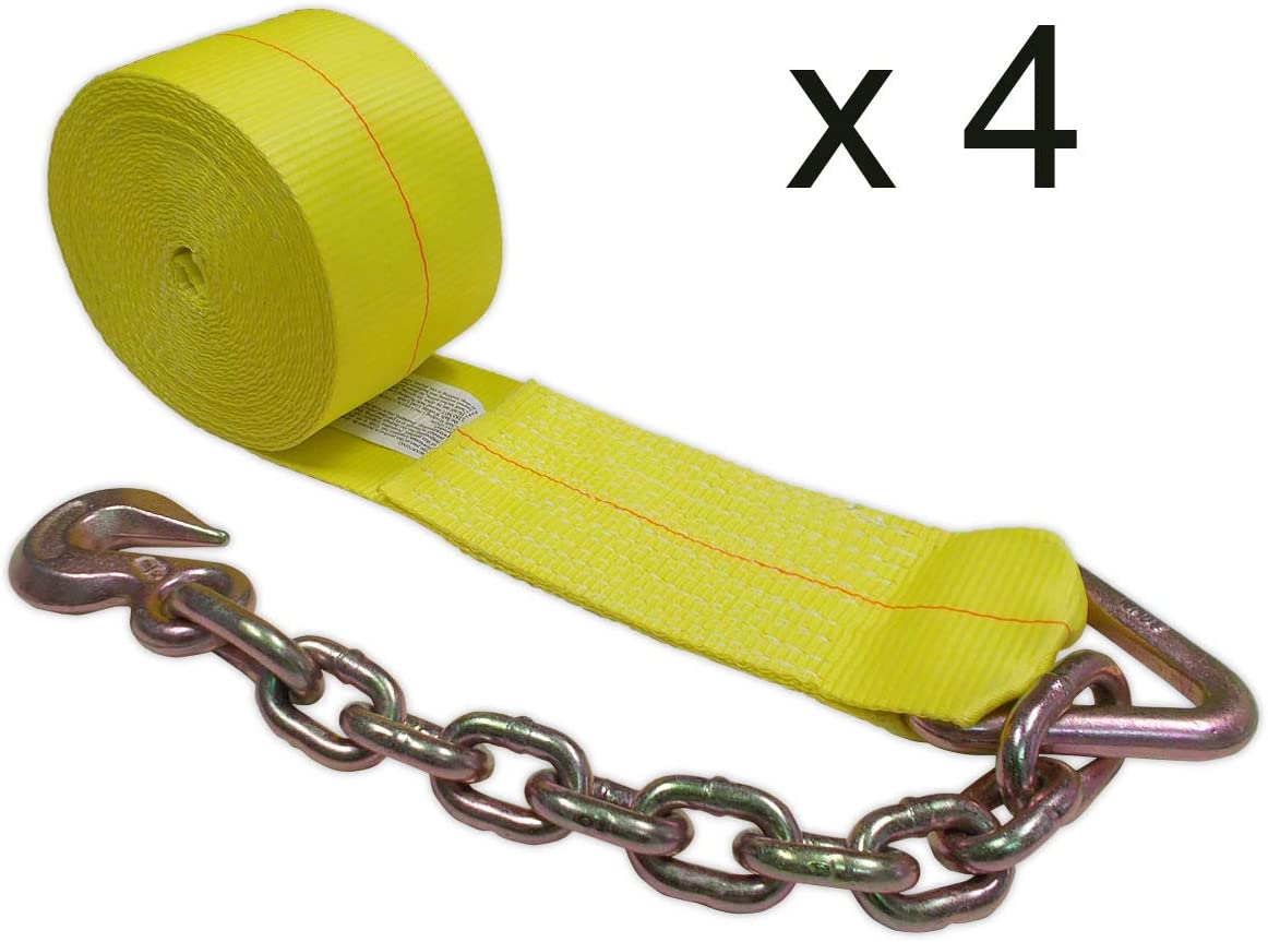 Mega Cargo Control 4 x 30 Truck Winch Strap w//Chain Extension Trailer Flatbed Truck 4-Pack WLL: 5400 lbs Polyester Tie Down Color: Yellow
