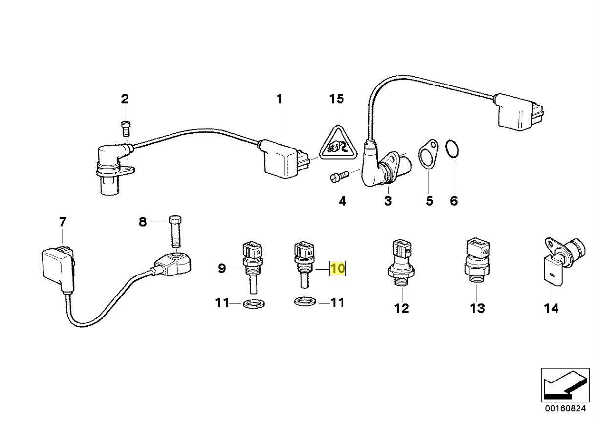 Bmw M21 M30 M60 V8 Engine Coolant Temp Sensor 1288158 Diagram 12621288158 Automotive