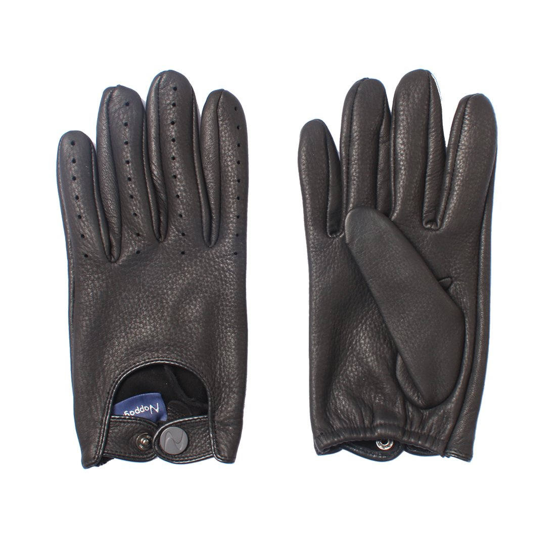 Nappaglo Men's Deerskin Leather Driving Gloves Touchscreen Full Finger Motorcycle Cycling Riding Unlined Gloves (M (Palm Girth:8''-8.5''), Black (Non-Touchscreen))