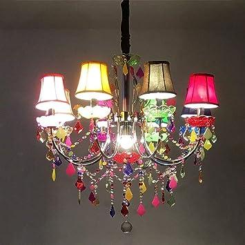 AOLI Lámparas de araña de color Lámparas de cristal de ...