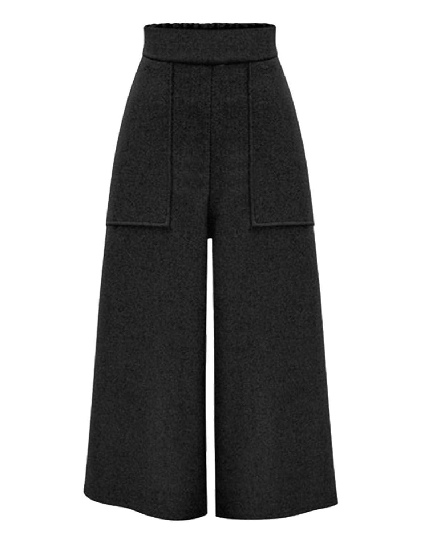 Ainovile Women's High Waist Wool Blend Wide Leg Palazzo Pants Trousers