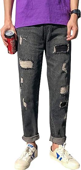 [MLboss]ジーンズ メンズ デニムパンツ ダメージ カジュアル ジーパン ファッション ゆったり ストレートパンツ おしゃれ パッチ Gパン `ストリート系 ズボン
