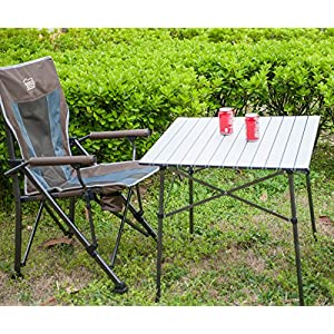 Timber Ridge Folding Camping Table Roll-Up Aluminum Indoor Outdoor Picnic Dining Desk, 27.5 x 27.5 Inches