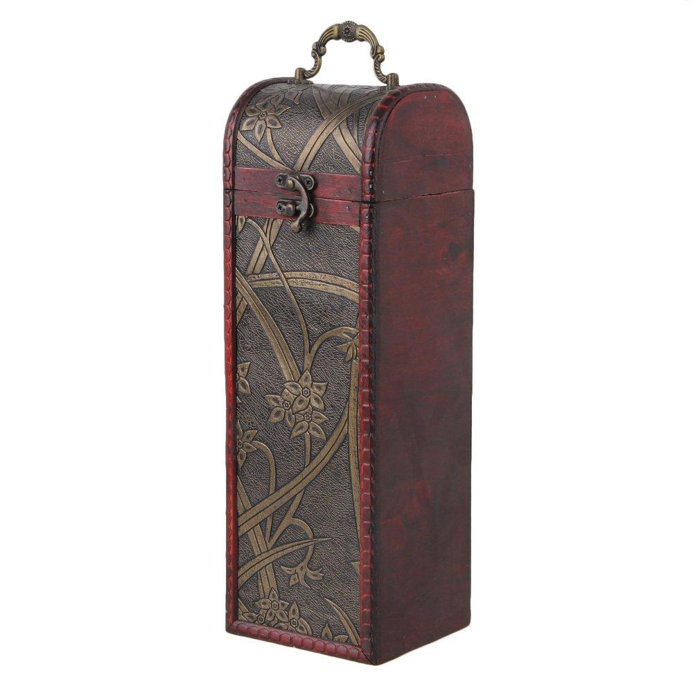 Yibuy Natural Wooden Vintage Wine Bottle Box Case Holder for Gift Holds 1 Bottle etfshop