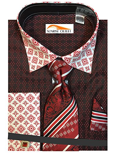 Sunrise Outlet Men's Two Tone Contrasting Diamond Pattern Dress Shirt with Tie Hanky and Cufflinks - Red 17.5 - Two Diamond Cufflinks Tone