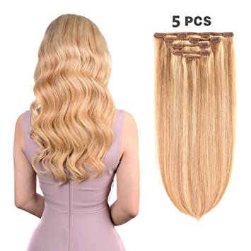 Amazon Com 5 Pieces 16 Remy Clip In Ombre Hair Extensions Human