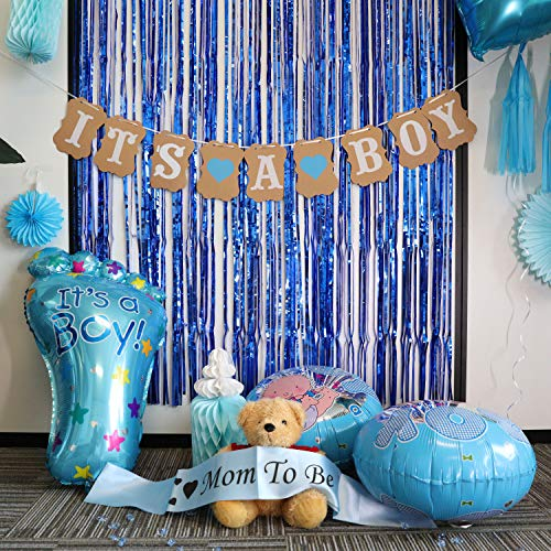 Baby Shower Decorations for Boy - Baby Shower Decorations: It's a Boy Pennant Banner& Mom to Be Sash, Baby Boy Shower Decorations Kit with Banners, Balloons, Pom Poms and Lanterns ()