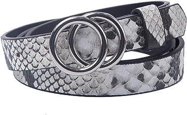 1 1//2 Womens Rhinestone Simple Round Buckle on Quality Snake Skin Print Belt