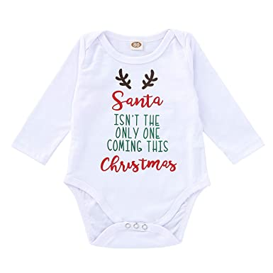 a76346d611bb Unisex Infant Christmas Outfits Baby Girls Boys Funny Letter Printed ...
