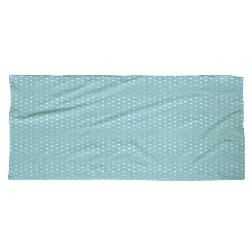 iPrint Large Cotton Microfiber Beach Towel,Light Blue,Classic Polka Dots Vintage Design Stylish Cottage Country Home Decorations,Light Blue White,for Kids, Teens, and Adults