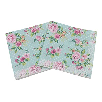 40 Count Paper Napkins, Designed Romantic Flowers Prints Cocktail Napkins, Serviettes Napkins for Weeding, Dinner and Party, Paper Luncheon Napkins 2-Ply, 13x13 Inch (Romantic Collection, Flower 11): Health & Personal Care