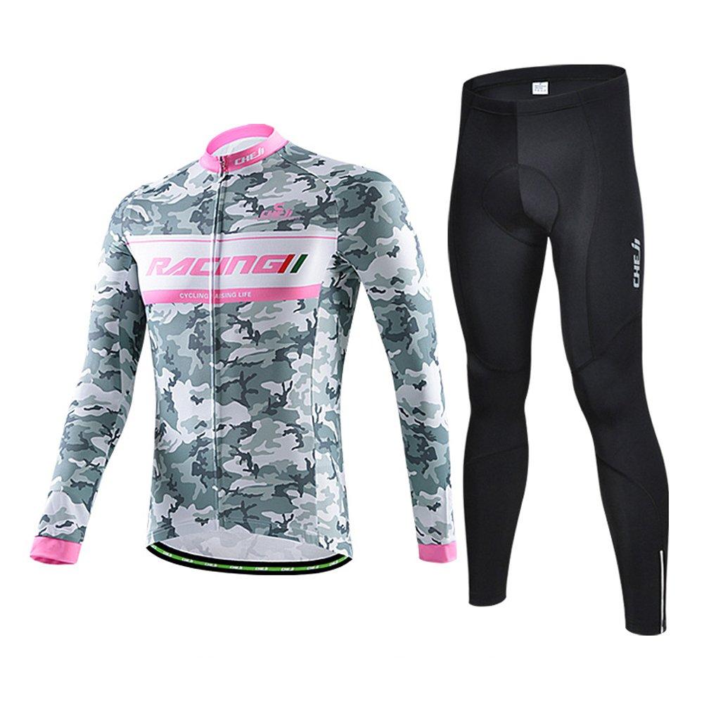 Outdoor peak Tarnung Männliche langeärmelige Rad-Trikots Radbekleidung mit Fahrradhose COOLMAX Silikonmatte