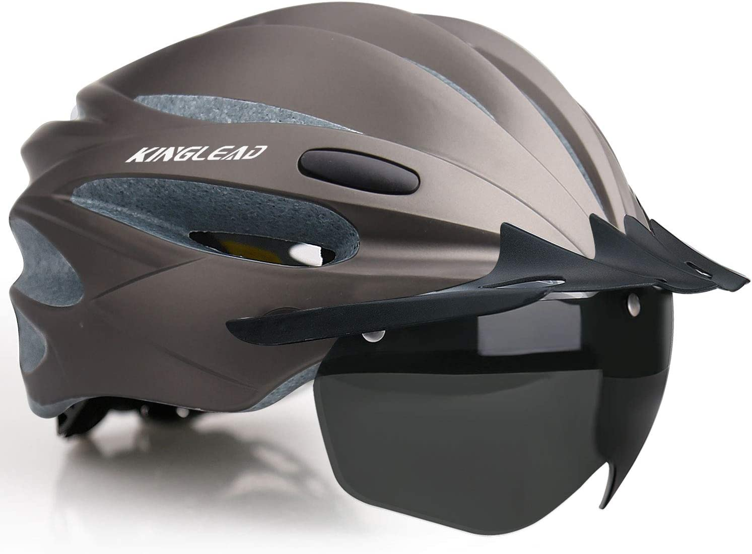 KINGLEAD Bike Helmet, Bicycle Helmet Cpsc&Ce Certified with USB Rechargeable Light Detachable Magnetic Goggles Removable Sun Visor Portable Bag for Adult Men Women Mountain Road Cycling(Kl-059)