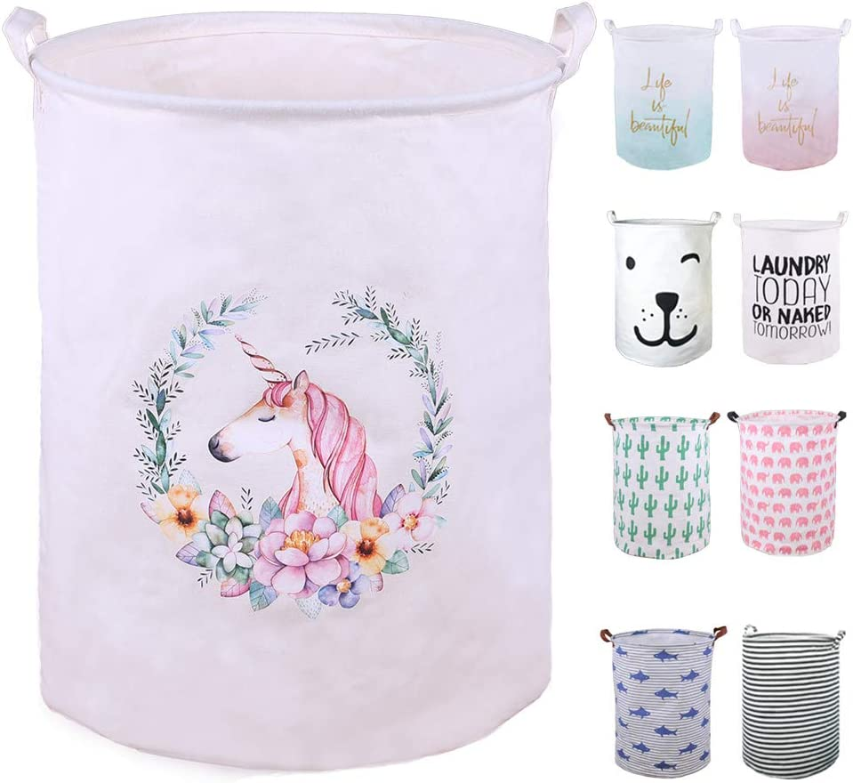 """SEAFOWL 19.7"""" Collapsible Laundry Basket,Waterproof Round Canvas Large Clothes Basket Laundry Hamper with Handles, Cute Cartoon Kids Nursery Laundry Basket,Baby Gift.(Art Unicorn)"""