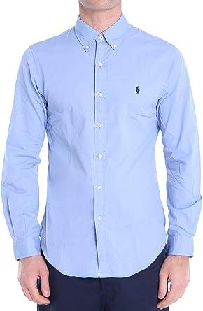 Polo Ralph Lauren Mod. 710787192 Camisa Popelín Slim Fit Hombre Azul XXL: Amazon.es: Ropa y accesorios