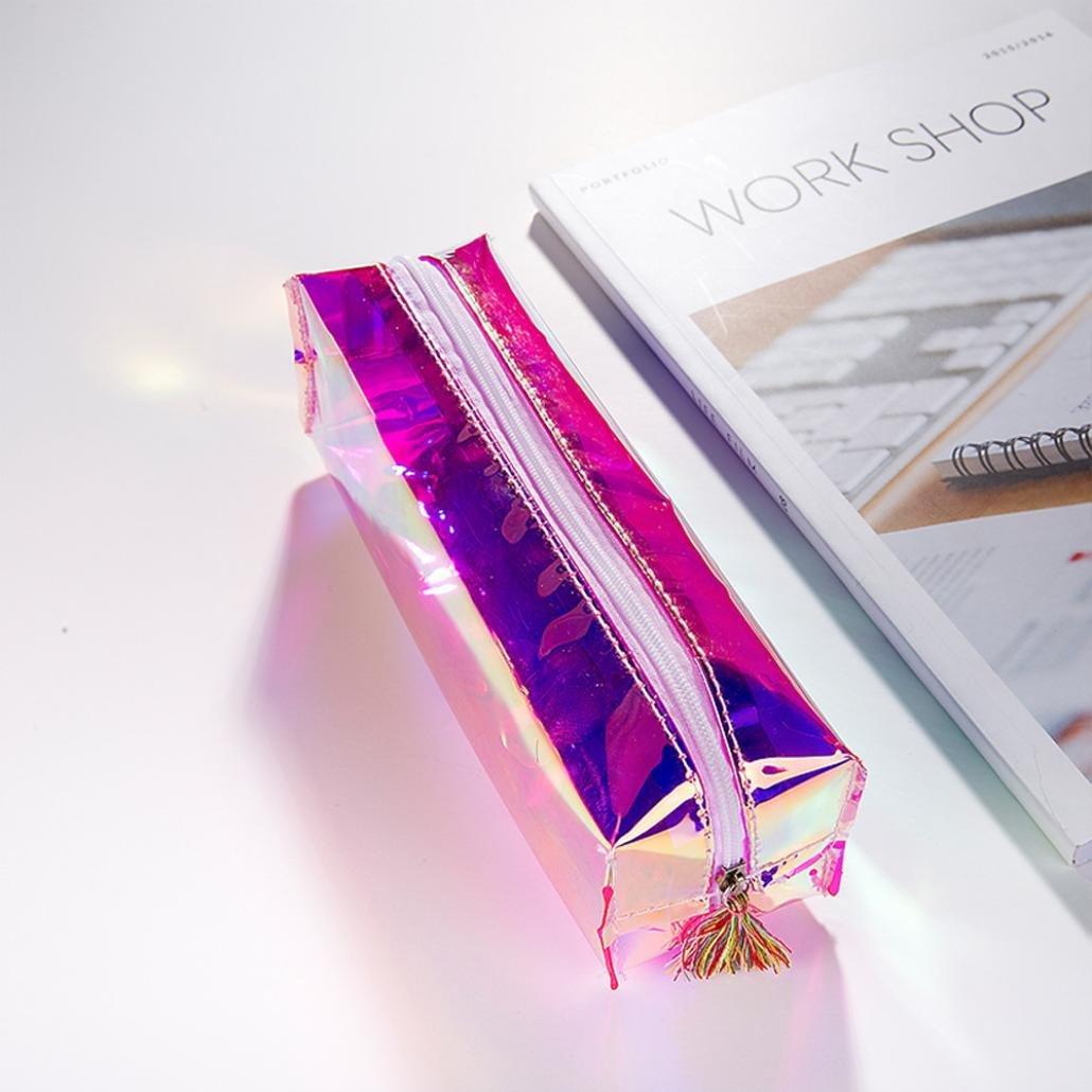 LtrottedJ Colorful Transparent Pencil Case Cosmetic Bag Makeup Pouch Tassel Pencils Box (Purple)