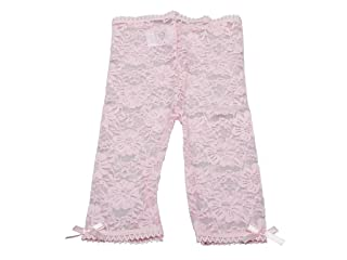Baby to Young Girl Lace Leggings - Satin Bows at Ankles and Comfort Waist (12-24 Months, Off-white Lace)